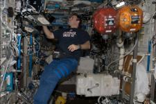 Astronaut Greg Chamitoff inside the US National Laboratory
