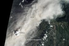 natural-color image of an ash plume from Sinabung on January 16, 2014