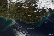 The plumes of sediment are clearly visible in the Mediterranean.