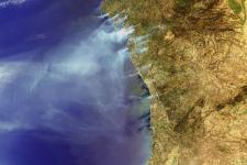 Envisat image of fires in Spain and Portugal in August 2006.