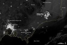 satellite night image of fires in Australia