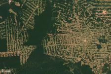 Satellite image of deforestation in Brazil