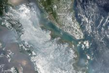 satellite image of fires in Indonesia