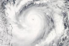 Satellite image of typhoon hitting the Philippines