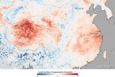 satellite data shows heat wave in China