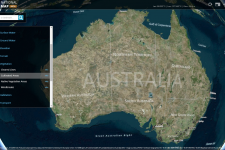 The web application allows users to overlay different geospatial datasets
