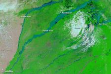 The Moderate Resolution Imaging Spectroradiometer (MODIS) on NASA's Terra satellite captured this image of the floods.