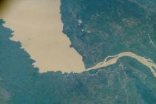 International Space Station shows a reservoir on the Gongola River in Nigeria