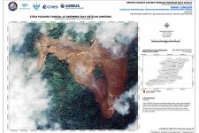 Satellite-based map of the area affected by the landslide