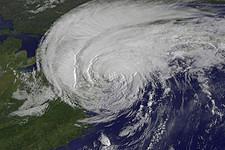 Hurricane Irene reaching New York City on 28 August 2011