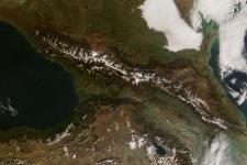 Caucasus Mountains on the Azerbaijan border, November 9, 2008