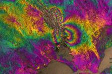 Copernicus satellite's image of the Napa Valley quake captured on 2 February 2014.