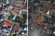 Dharahara tower in Kathmandu before and after the earthquake (Image: DigitalGlobe)