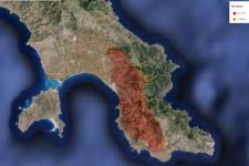 Burned area mapped by EFFIS in Monemvasia, Lakonia (Image: JRC)