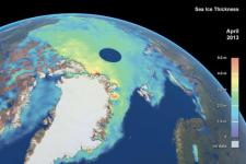CryoSat-2 satellite image measuring Arctic sea ice thickness (Image: ESA)