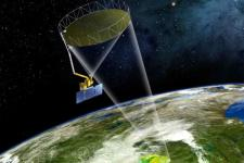 Artist's conception of SMAP taking data from orbit (Image: NASA)