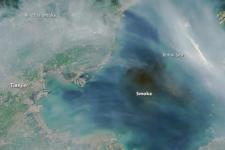 Satellite image of smoke produced by massive explosions in Tianjin (Image: NASA)