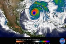 The image shows water vapor within Hurricane Katrina on Aug. 29, 2005 (Image: NASA)
