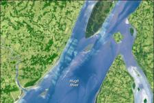Satellite image of India's Hugli River, one of the many branches of the Ganges (Image: NASA)