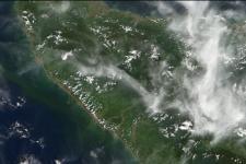 NASA's MODIS on Terra satellite shows changes in coastal line of Sumatra Island