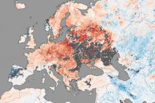 MODIS image caught by NASA's Terra satellite shows high temperatures in Europe
