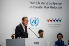 Former United Nations Secretary-General Ban Ki-moon addresses the third UN World Conference on Disaster Risk Reduction in Sendai, Japan, in March 2015. Image: UNDRR.
