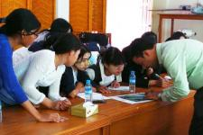 Participants are being trained in analyzing maps produced as part of International Charter activations.
