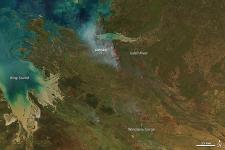 MODIS acquired this image of dozens of managed fires