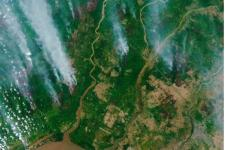 The Copernicus Sentinel-2 mission captured the fires over Borneo on 13 September 2019. Image: Copernicus