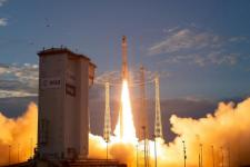 ESA's Earth Explorer Aeolus satellite lifted off from Europe's Spaceport in Kourou, French Guiana, on 22 August. Image: ESA