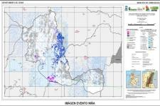 Contraction and expansion of water bodies during La Niña event in Colombia