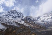 View of the Himalayan mountain chain from a Nepal basecamp.