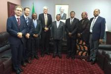 Mission team with H.E. Dr. Joseph Dion Ngute, Prime Minister of the Republic of Cameroon, H.E. Mr. Paul Atanga Nji, Minister of Territorial Administration of Cameroon, Mrs. Mariatou Yap, Director of the Department of Civil Protection of Cameroon and Mr. Balungeli Confiance Ebune, Director of Cabinet at the Prime Minister's Office.