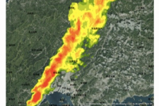 Result of taking rainfall information of the X-band MP radar into GIS (2014.08.20 1:00 and 4:00 ).
