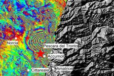 Italy earthquake displacement, August 2016. Image: ESA