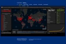 Screenshot of the Johns Hopkins University COVID-19 dashboard.