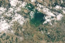 Flood in Uzbekistan and Kazakhstan following a dam breach in April 2020. Image: NASA.