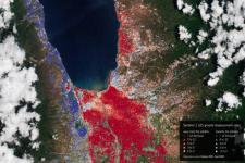 This map shows the ground motion during the six months following the earthquake that struck the Indonesian Island of Sulawesi on 28 September 2018, and was obtained by processing Copernicus Sentinel-1 images acquired between October 2018 and April 2019. Image: ESA/contains Copernicus Sentinel data (2018–19), processed by Planetek Rheticus Service.