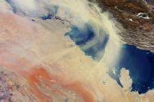 Image courtesy of the European Space Agency (ESA) of a sandstorm over the Persian Gulf in 2008.