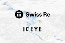Swiss Re and ICEYE logos with flood extent analytics visualisation in the background. Image: ICEYE.