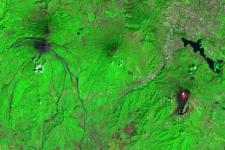 Image captured by Sentinel-2 on February 8 2021 of the Fuego volcano (left), Pacaya volcano (right), Guatemala City (upper right), with volcano lava visible in red. Image: Sentinel Hub, ESA.