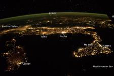 Night view of Italy. Image: NASA