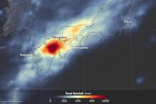 Global Precipitation Measurement visualization of heavy rain in Japan, 2 – 9 July 2018. Image: NASA Earth Observatory