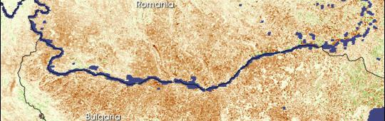 satellite image shows impacts of drought on vegeration in romania