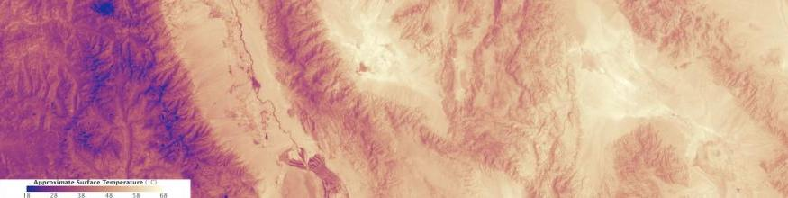 The image shows the heat emanating from Death Valley on 30 June 2013. The measurement is surface temperature as measured by the Thermal Infrared Sensor on the Landsat 8 satellite. The accompanying natural color view from the Operational Land Imager on Landsat 8 shows that the cooler areas are either higher in elevation or covered with plants. Image: NASA.