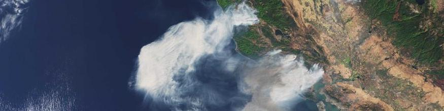 The Copernicus Sentinel-3A satellite captured this image of smoke from wildfires in the US state of California on 9 October 2017. Image: contains modified Copernicus Sentinel data (2017), processed by ESA, CC BY-SA 3.0 IGO.