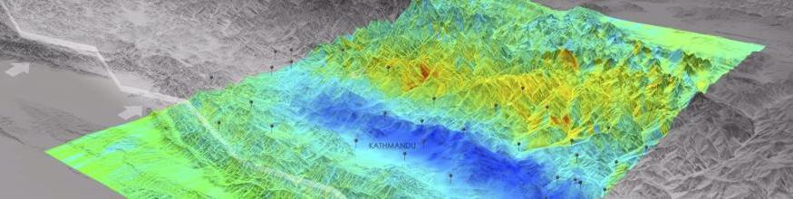 Based on data from the Sentinel-1A satellite, this image shows how and where the land uplifted and sank from the 7.8-magnitude earthquake that struck Nepal on 25 April 2015. The image was generated by the German Aerospace Center (DLR) Earth Observation Center (EOC) using data acquired by Sentinel-1A before and after the earthquake event. Image: DLR/EOC.