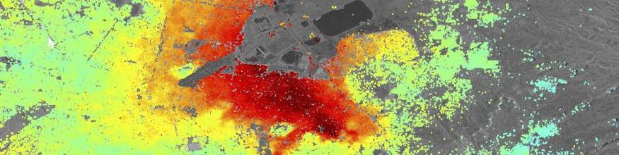 Five Sentinel-1A radar scans acquired between 3 October and 2 December 2014 were combined to create this image of ground deformation in Mexico City. The deformation is caused by ground water extraction, with some areas of the city subsiding at up to 2.5 cm/month (red). Image: Copernicus data (2014)/ESA/DLR Microwave and Radar Institute–SEOM InSARap study.